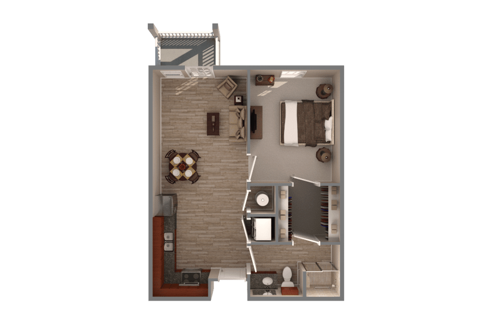 one bedroom one bathroom apartment floor plan with full kitchen and hardwood floors