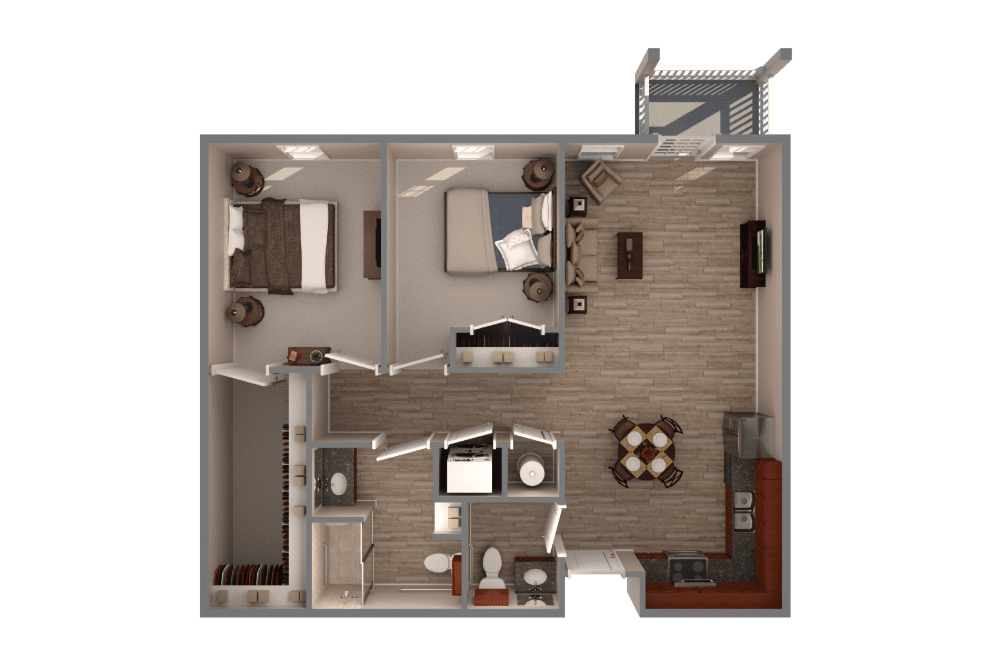 two bedrooms one and a half bathroom apartment floor plan with full kitchen and hardwood floors