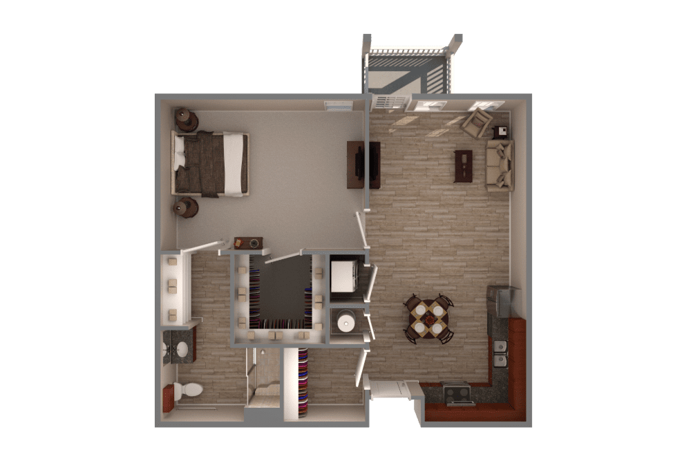 one bedroom one bathroom apartment floor plan with full kitchen, large closets, and hardwood floors
