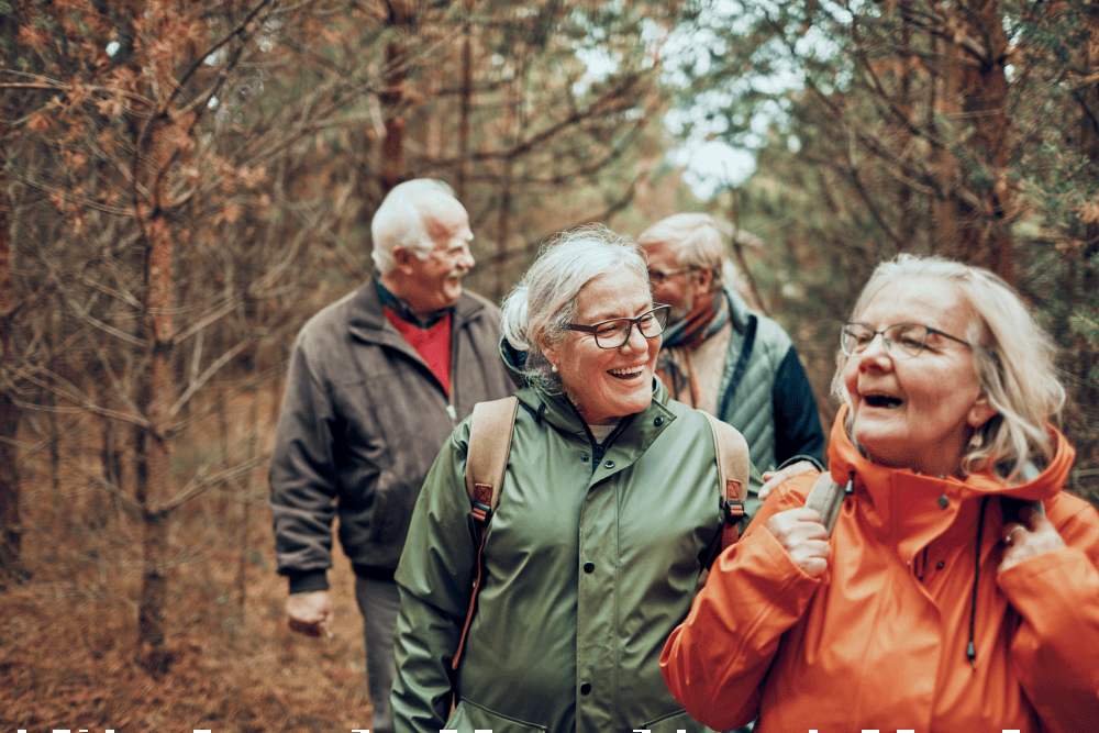 active seniors hiking in the woods